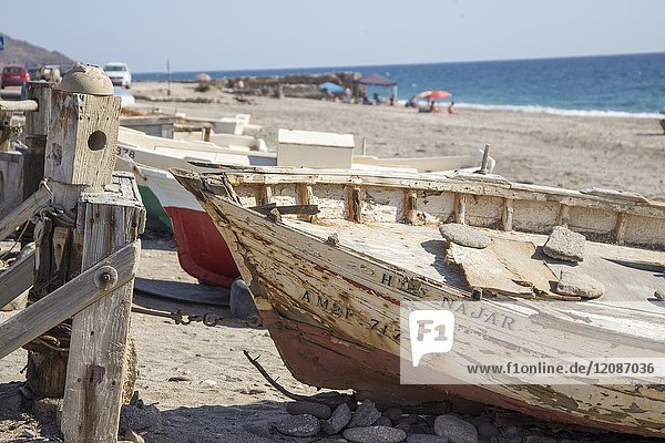 Ruined fishing boats in Almeria La Almadraba de Monteleva Andalusia Spain.