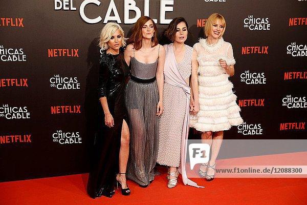 Premiere of the Netflix series Las chicas del cable.Ana Fernandez  Ana Polvorosa  Maggie Civantos  Nadia de Santiago.Madrid. 27/04/2017.(Photo by Angel Manzano)..