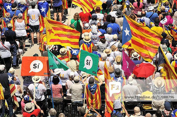 Political demonstration for the independence of Catalonia. Catalan independent flags. June 2017  Barcelona  Catalonia  Spain