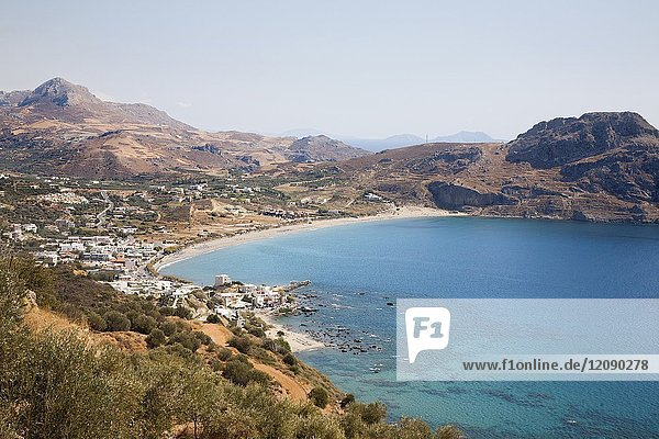 Plakias beach and village  Crete island  Greece  Europe.