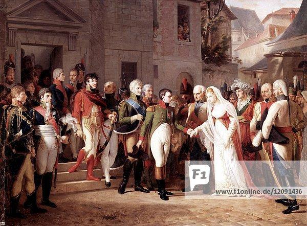 Jean-Charles Tardieu -. Napoleon receiving Queen Louise of Prussia at Tilsitt.