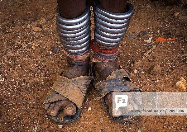 Iron anklets of a Hamer tribe woman  Omo valley  Dimeka  Ethiopia.