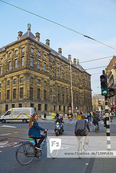 Paleistraat  in front of Royal Palace  Amsterdam  The Netherlands.