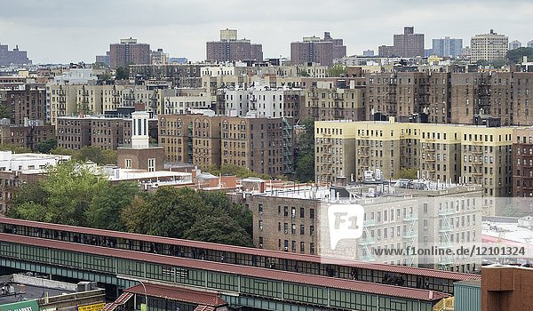 Densely packed apartment buildings and housing stock in the High Bridge and Concourse neighborhoods of the New York borough of The Bronx on Sunday  October 15  2017.