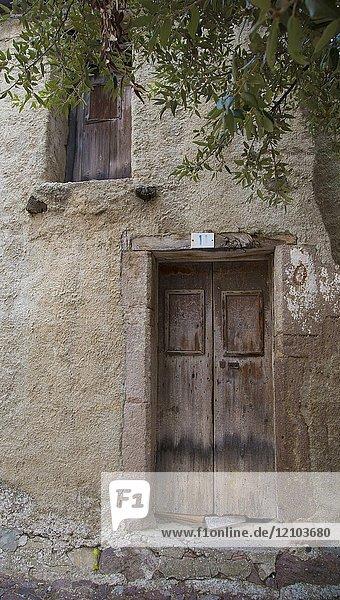 Old wooden door in the small village of Bortigali  Sardinia  Italy.