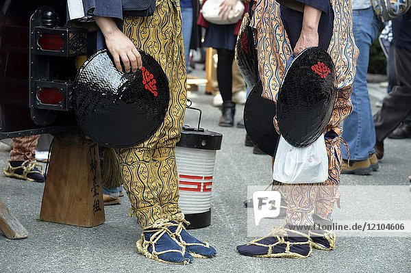 Japanese men in traditional costume  Takayama Festival  Japan  Asia.