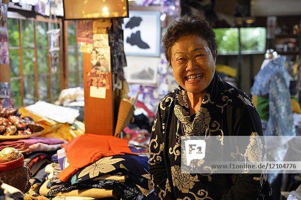 Japanese woman selling Kimono and yukata in Kyoto  Japan  Asia.