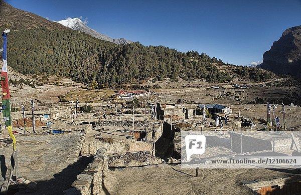 The beautiful Tibetan stone village of Ngawal  Annapurna Circuit  Nepal.