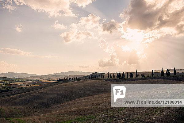 Rollende Landschaft mit Sonnenstrahlen durch Wolken   Toskana  Italien
