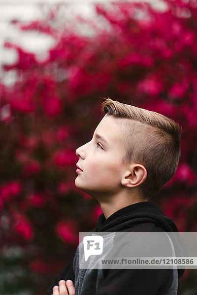 Profile portrait of boy looking away
