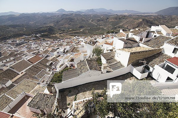 Olvera is one of the most beautiful villages in Spain  Andalusia  Spain. Aerial view.
