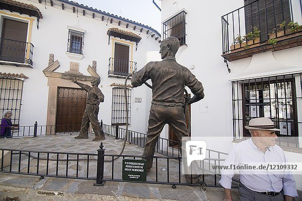 Grazalema is one of the most beautiful villages in Spain Cadiz mountains Andalusia Bull statues.