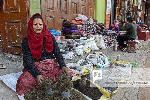 Female herbs and spice vendor  Kathmandu  Nepal.