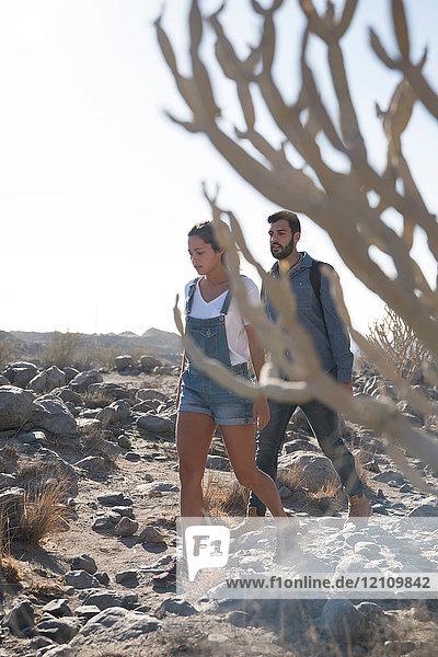Junges Wanderpaar beim Wandern über Felsen  Las Palmas  Kanarische Inseln  Spanien