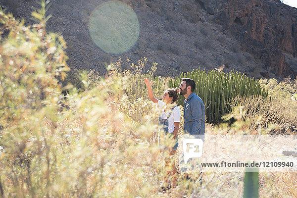 Junges Wanderpaar  das vom sonnenbeschienenen Tal aus nach oben schaut und zeigt  Las Palmas  Kanarische Inseln  Spanien
