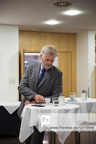 Businessman in office  taking a break