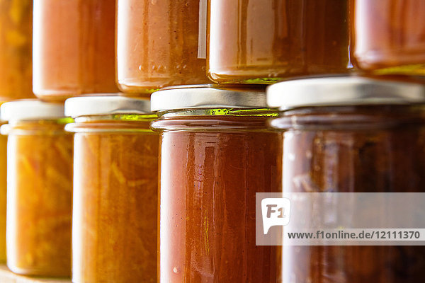 Jars of different flavored jams