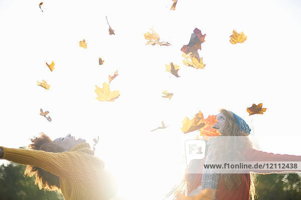 Friends throwing autumn leaves in air