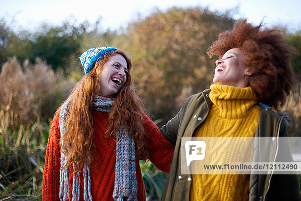 Freunde Arm in Arm  die lachend den Kopf zurückwerfen