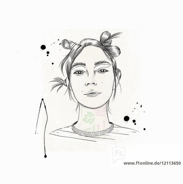 Modische junge Frau mit flippiger Frisur