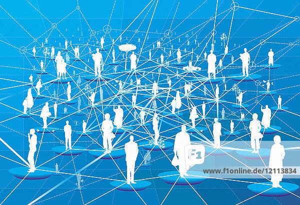 Viele Menschen verbunden in einem Netzwerkmuster