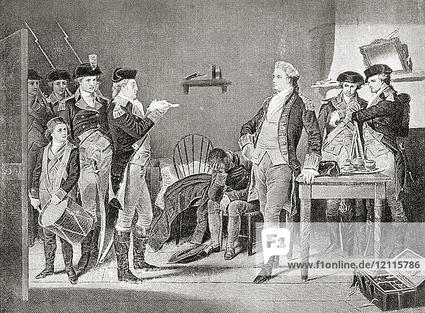 Delivering the death warrant of John André. John André  1750 – 1780. British Army officer hanged as a spy by the Continental Army during the American Revolutionary War. From Hutchinson's History of the Nations  published 1915.