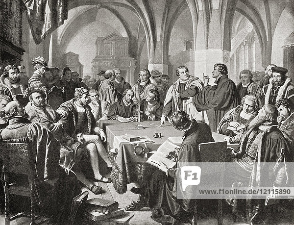 The Marburg Colloquy  Marburg Castle  Marburg  Hesse  Germany 1529. A meeting which attempted to solve a disputation between Martin Luther and Ulrich Zwingli over the Real Presence of Christ in the Lord's Supper. Martin Luther  1483 – 1546. German professor of theology  composer  priest  monk and a seminal figure in the Protestant Reformation. Huldrych Zwingli aka Ulrich Zwingli  1484 – 1531. Leader of the Reformation in Switzerland. From Hutchinson's History of the Nations  published 1915.