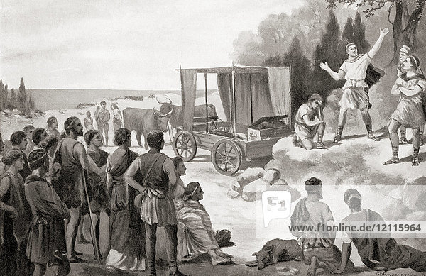 Thespis's wagon. Thespis  actor in ancient Greece  6th century BC. Apart from being the first person ever to appear on stage as an actor  he also invented theatrical touring in a horse-drawn wagon. From Hutchinson's History of the Nations  published 1915.