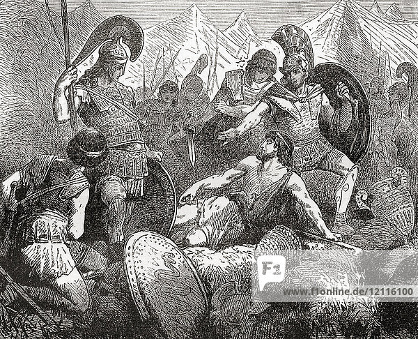 The death of Codrus. After Codrus succeeded to the throne  Attica was invaded by the Dorians. The oracle of Delphi prophesied that their invasion would succeed as long as the king was not harmed. Codrus  therefore  went disguised into the enemy's camp and provoked a quarrel  in which he was killed. On discovering his identity  the Dorians retreated. Codrus  semi-mythical Kings of Athens  reigned c. 1089–1068 BC. He was an ancient exemplar of patriotism and self-sacrifice. From Ward and Lock's Illustrated History of the World  published c.1882.