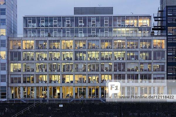 Fensterfront  Bürogebäude im Medienhafen  Düsseldorf  Rheinland  Nordrhein-Westfalen  Deutschland  Europa