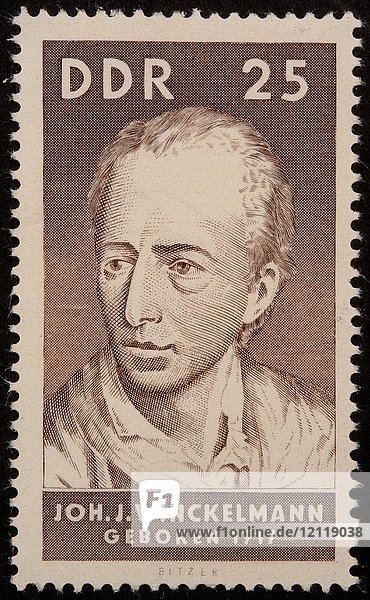 Johann Joachim Winckelmann  deutscher Kunsthistoriker und Archäologe  Porträt auf einer DDR-Briefmarke 1967