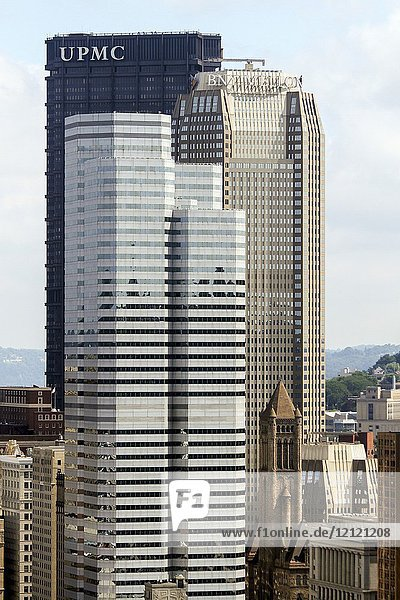 U. S. Steel Tower (which holds the administrative offices of the University of Pittsbrugh Medical Center)  BNY Mellon Center  and One Oxford Center. Pittsbrugh  Pennsylvania  United States.