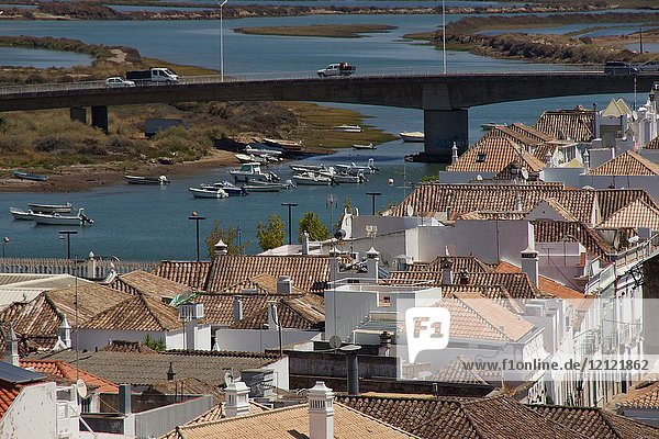 Tavira (Portugal). Overview of the town of Tavira and the river Gilâ in the Portuguese Algarve.
