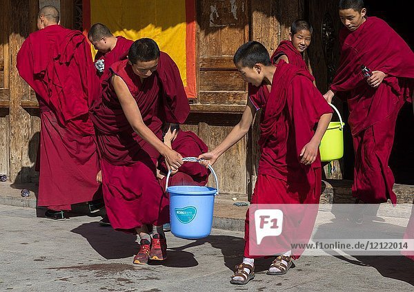 Monks carrying buckets for the painting of a temple in Rongwo monastery  Tongren County  Longwu  China.