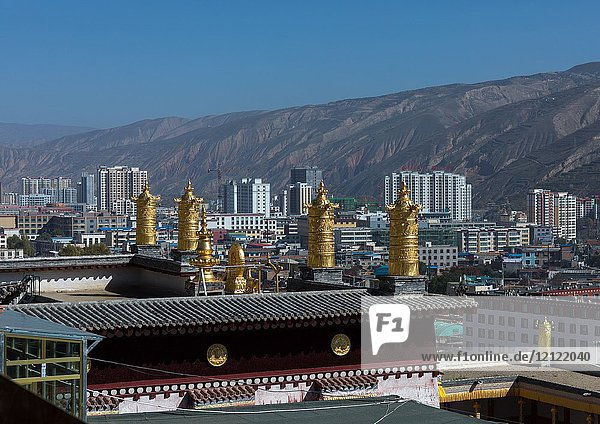 Rongwo monastery in front of the modern town  Tongren County  Longwu  China.