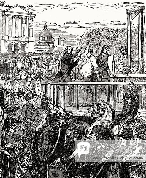 Execution of Louis XVI on Monday  21 January 1793  Place de la Révolution  Paris  France.