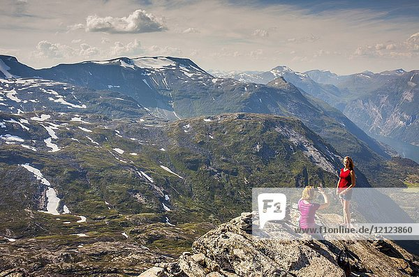 Dalsnibba Viewpoint at right in background Geirangerfjord  More og Romsdal  Norway.