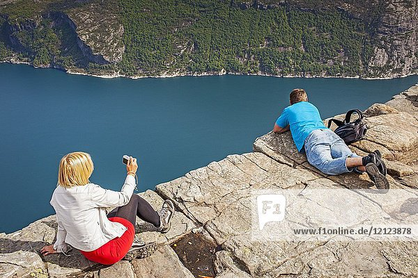 Preikestolen  Pulpit Rock  600 meters over LyseFjord  Lyse Fjord  in Ryfylke district  Rogaland Region  It is the most popular hike in Stavanger area  Norway.