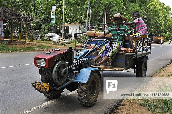 Cart towed with motorized cultivator  Sri Lanka  Indian subcontinent  South Asia.