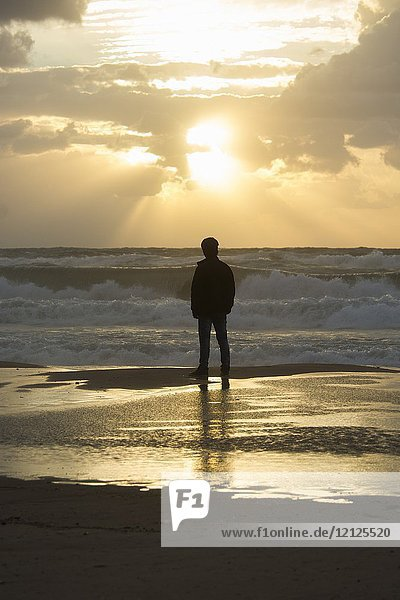 Rear view of a young silhouetted man standing on the beach at sunset.