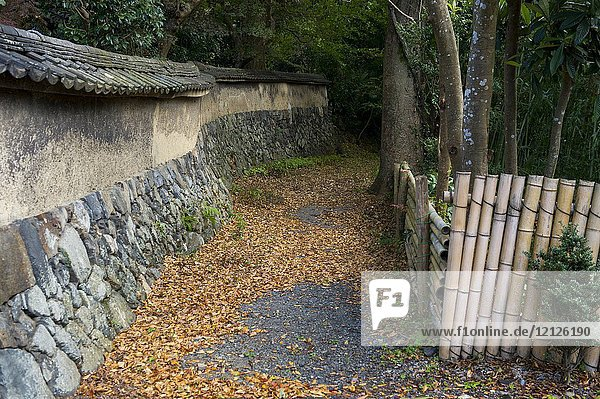 A stone wall is surrounding the garden at Heki-tei  a 300 year old former samurai house in Kyoto  Japan.