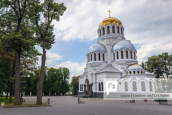 Cathedral of Saint Alexander Nevsky in Kamianets-Podilskyi city in western Ukraine.