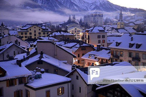 Buildings in Chamonix Mont Blanc French Alps Haute Savoie France Europe.