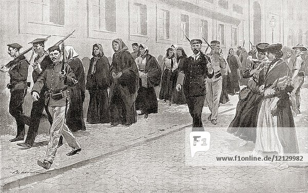Nuns under Republican protection during the Portuguese Revolution of 1910. The Republic issued a decree expelling all members of religious communities from the country  those who chose to stay were forbidden to appear in the garb of their religion. From Hutchinson's History of the Nations  published 1915.
