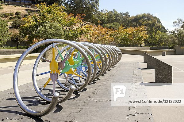 DNA model in front of the Lawrence Hall of Science  University of California  Berkeley  California  United States.
