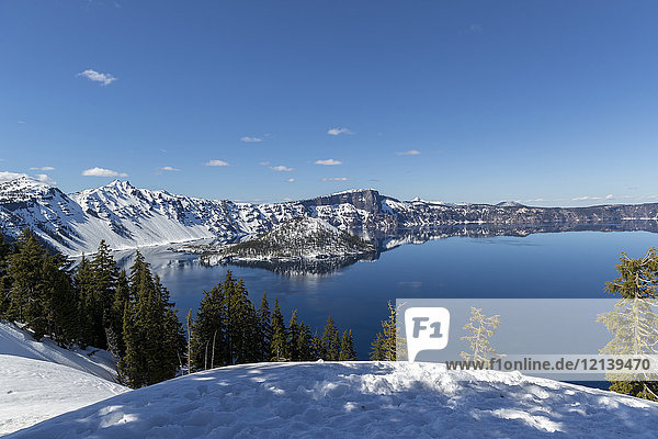 Scenic view of Crater Lake  Oregon  United States