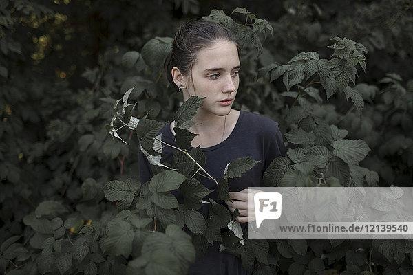 Caucasian teenage girl standing in leaves