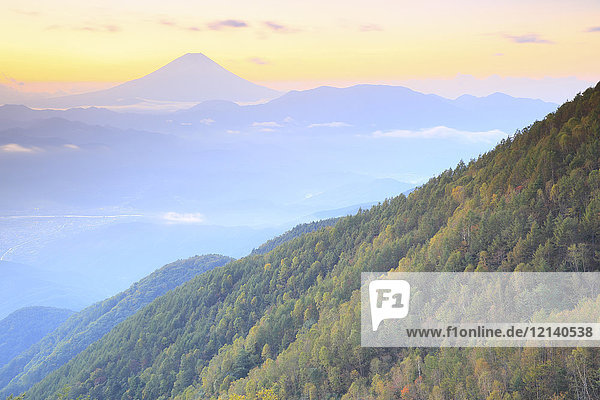 Beautiful view of Mount Fuji and autumn leaves  Yamanashi Prefecture  Japan