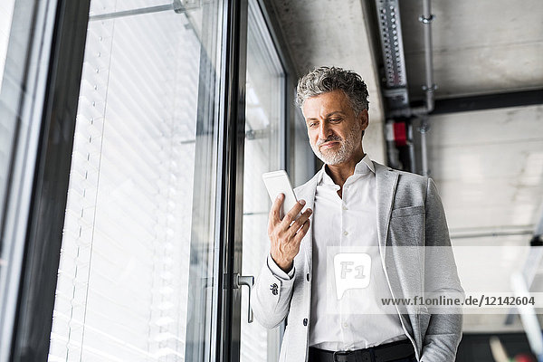 Smiling mature businessman standing at the window in office holding cell phone