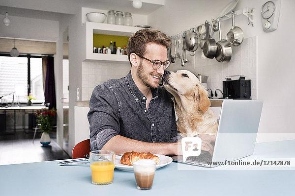 Lächelnder Mann mit Hund mit Laptop in der Küche zu Hause